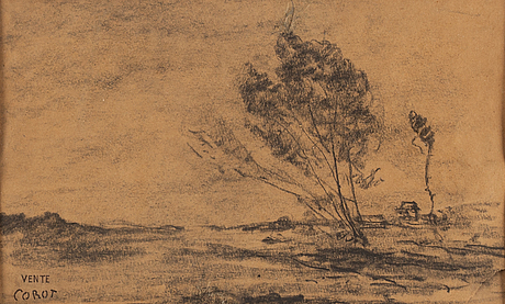Jean baptiste camille corot, charcoal drawing, staped signature vente corot.