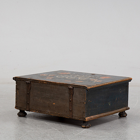 A painted wooden box, marked 1760.
