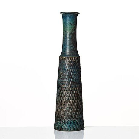 Stig lindberg, a stoneware vase, gustavsberg studio, sweden 1961.