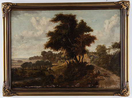Patrick nasmyth, in the manner of, oil on panel, signed.