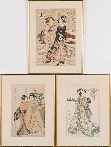 Three japanese coloured woodblock prints, after shunsho, eizan, late 19th/early 20th century.