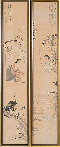 After yu qiubao (act 18th c), ink and colour on paper, qingdynasty, circa 1900.