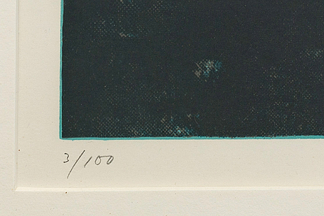 Ola billgren, serigraph in colours signed dated and numbered 83 3/100.