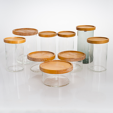 Kaj franck, a set of nine 1970s lidded 'purtilo' glass jars, arabia / wärtsilä.