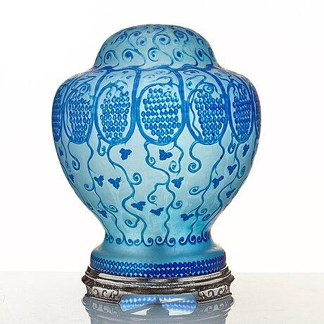 Ferdinand boberg, an art nouveau cameo glass table lamp, reijmyre, sweden.