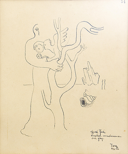 Esaias thorén, two drawings, signed -34 & -44.