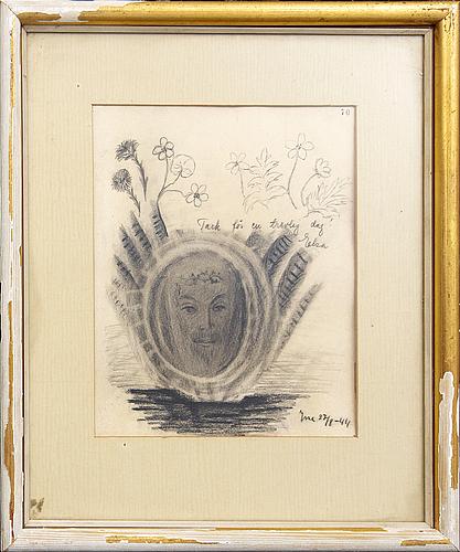 Esaias thorén, två teckningar, signerade -34 & -44.
