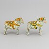 Two 20th century painted wooden horses.
