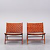 A pair of 'porto' teak easychairs by newport.