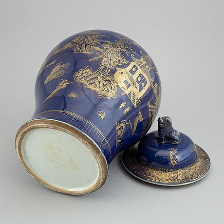 A powder blue jar with cover, qing dynasty, qianlong (1736-95).