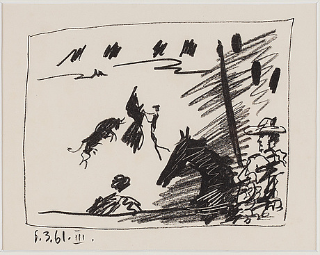 Pablo picasso, lithograph, dated 1961 in print, from a los toros avec picasso.