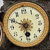 A bronze, green stone table clock, 'la merveilleuse', after auguste moreau, 20th century.