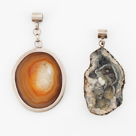 Cecilia johansson, two pendants silver with agate and geod.