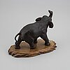 A japanese bronze sculpture of an elephant, 20th century. signed.