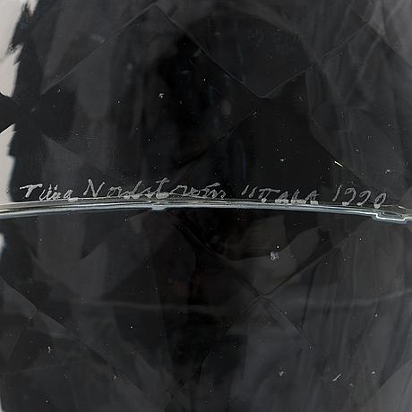 Tiina nordström, a glass sculpture signed tiina nordstöm iittala 1990.