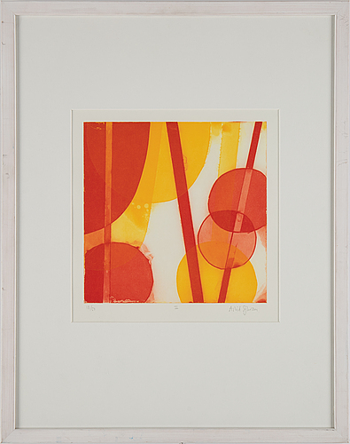 Astrid sylwan, etching in colours, signed 18/50.