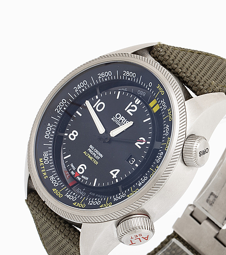 Oris, big crown, pro pilot, altimeter, wristwatch, 47 mm.