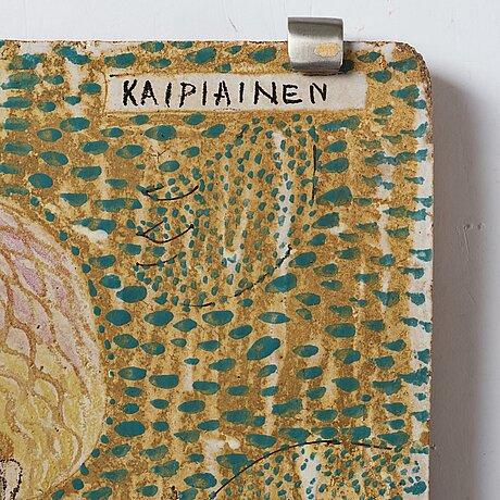 Birger kaipiainen, a ceramic plaque, arabia, finland 1940's.