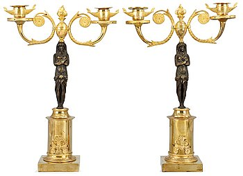 1021. A pair of late Gustavian two-light candelabra.