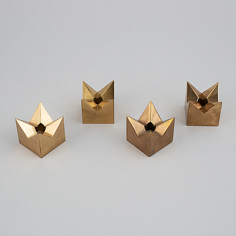 Pierre forssell, five 'profil' brass candle holders, for skultuna.