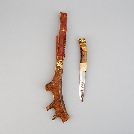 A sami reindeer horn knife, signed gm.