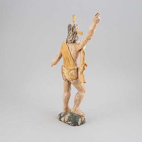 TrÄfigur, snidat och bemålat/förgyllt trä, 1700-tal.