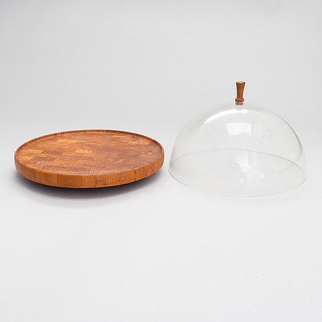 Two serving trays, one of which is rotatable with a cup, digsmed, denmark, third quarter of the 20th century.