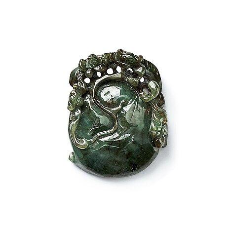 Hänge/skulptur, grön sten. kina.