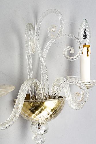 VÄgglampetter ett par italien 1900-talets mitt glas.