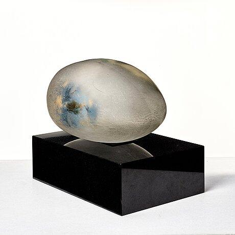 "Bertil vallien, a unique sand cast glass sculpture, ""resting head"", kosta boda, sweden."