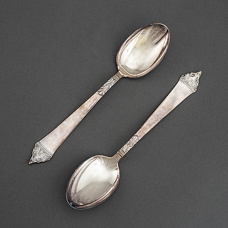Eight silver spoons,  cg hallberg, stockholm, 1950's.