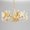 A brass and glass ceiling glass,  second half of 20th century.
