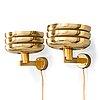 Hans-agne jakobsson, a pair of mid-20th century 'v361' wall lights for ab markaryd.