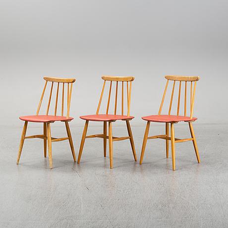 Ilmari tapiovaara, three 'fanett' chairs, edsbyverken 1958.