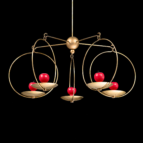 "Kaija aarikka, a candle-mobile ""the iltatulet candelabrum"" in brass, design 1968."