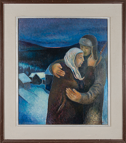 Kosti ahonen, oil on board, signed and dated 1980.