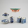 Five porcelain objects, qing dynasty, 18th/19th century.