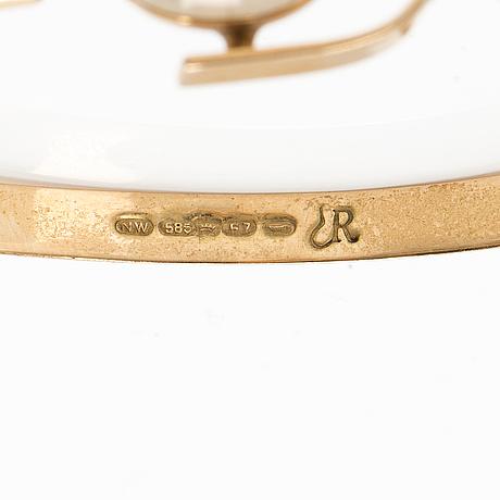 Eero rislakki, armband, 14k guld, kalcedon. westerback, helsingfors 1959.