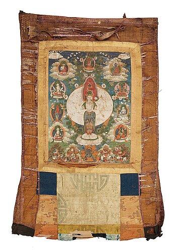 A tibetan thangka representing buddhisattva avalokiteshvara, 18th century.