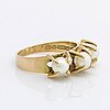 Elis kauppi, ring 14k guld, m 3 cultured pearls approx 4 mm, kupittan kulta 1967 finland.