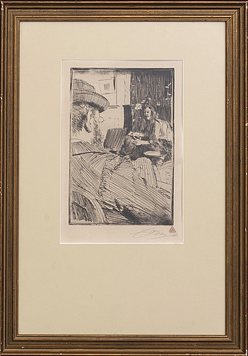 Anders zorn, a signed etching from 1896.