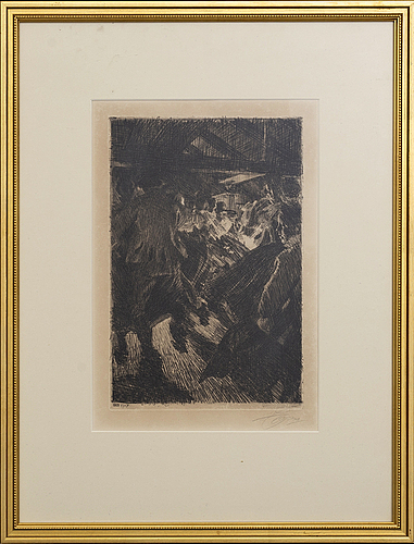 Anders zorn, a signed etching from 1917.