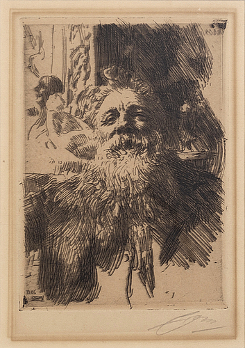 Anders zorn, a signed etching from 1906.