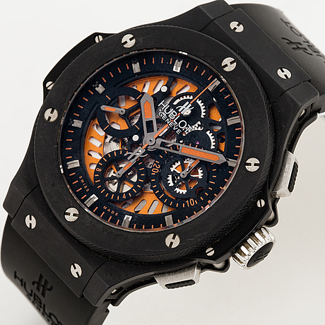 Hublot, big bang aero bang orange, armbandsur, kronograf, 45 mm .