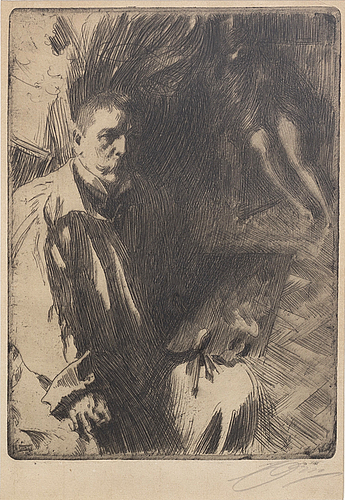 Anders zorn, a signed etching from 1899.