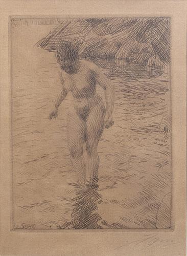 Anders zorn, etsning, 1915, signerad.