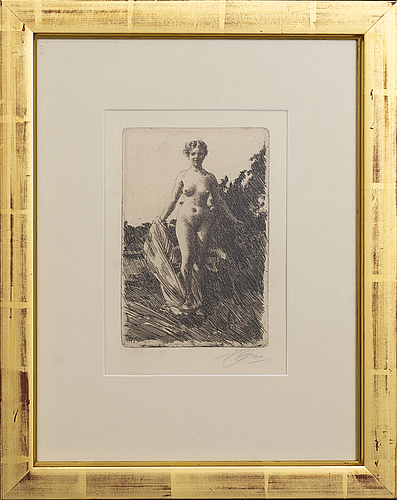 Anders zorn, a signed etching from 1907.