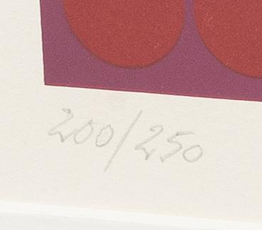 Victor vasarely, färglitografi, numrerad 200/250 och signerad.