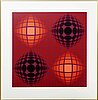 Victor vasarely, a lithograph in color, numbered 200/500 and signed.