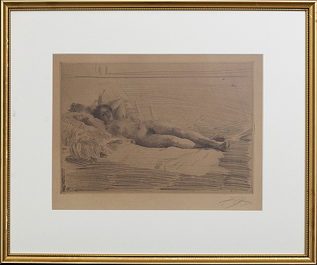 Anders zorn, a signed etching from 1913-14.